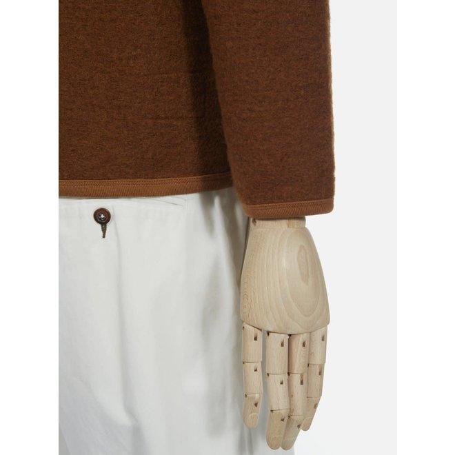 Wool Fleece Cardigan In Rust