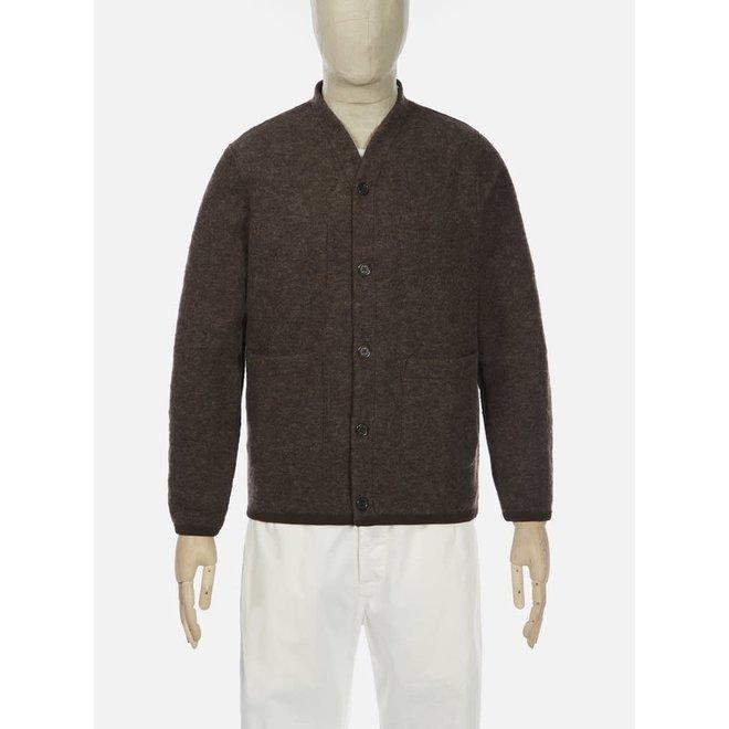 Wool Fleece Cardigan In Brown