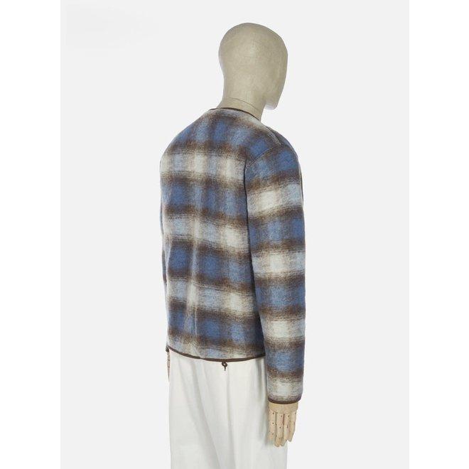Wool Fleece Zip Liner Jacket In Blue/Brown Check