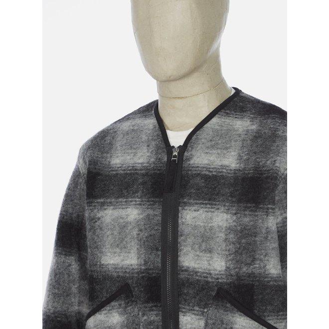 Wool Fleece Zip Liner Jacket In Grey/Charcoal Check