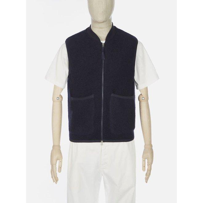 Wool Fleece Zip Waistcoat In Navy