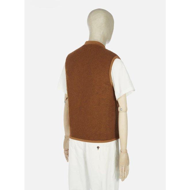 Wool Fleece Zip Waistcoat In Rust