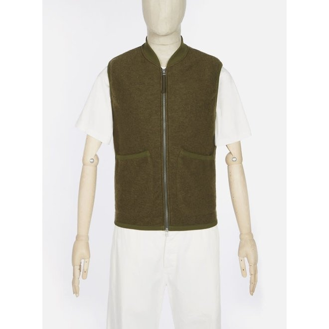 Wool Fleece Zip Waistcoat In Light Olive