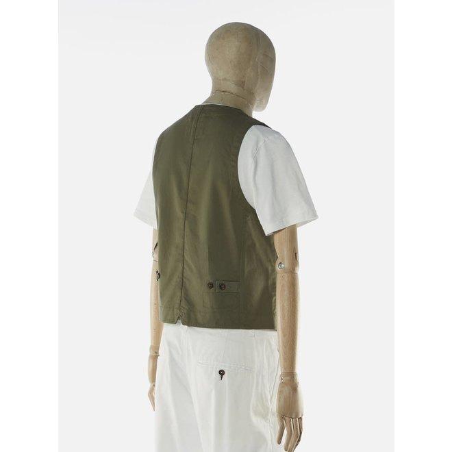 Field Waistcoat In Light Olive Twill