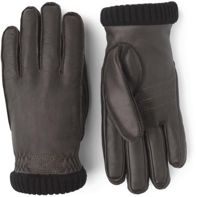 Deerskin Primaloft Ribbed Gloves in Dark Brown