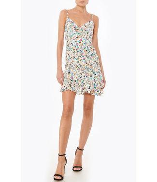 Milly White Floral Ruffle Hem Dress