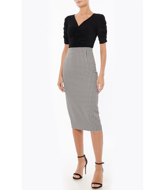 Milly Milly Twill Check Pencil Skirt