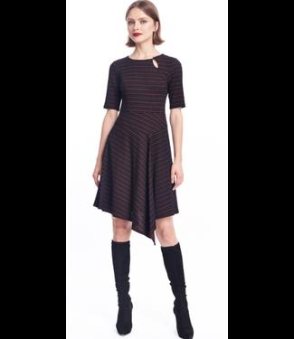nanette Lepore Blk-Red Asym Dress size 8