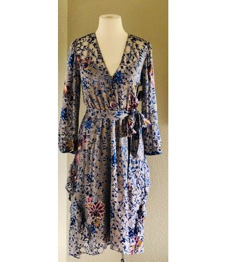 hale Bob Taupe/blue floral silk burnout  tie dress  Size Small