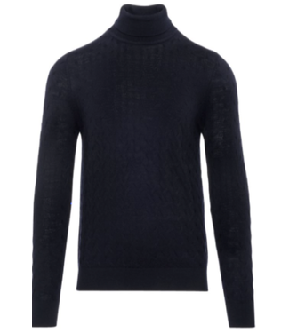 patrick assaraf Textured navy turtleneck