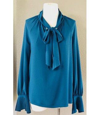 trina turk Teal tie blouse