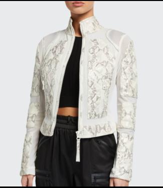 blanc noir Leather/Mesh Snake Jacket