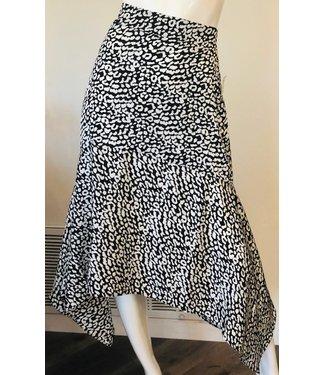 sen Cheetah Black-White Midi Skirt