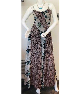 sen Cheetah panel slip dress