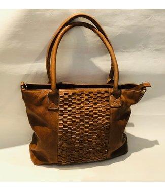 Tabacco large leather handbag