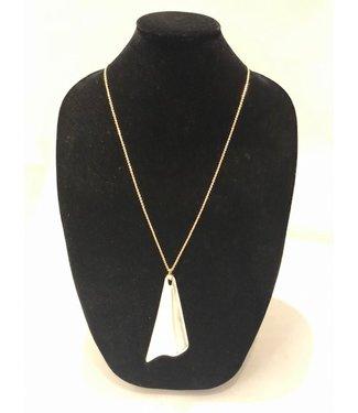 alexis bittar Silver lucite fan pendant long necklace