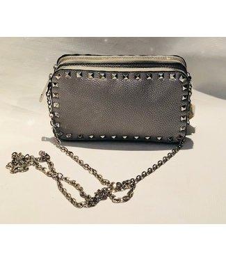 Double pocket  studded silver bag