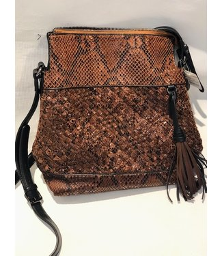 Vegan leather brown embossed snake cross body