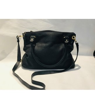 Black perforated leather handbag