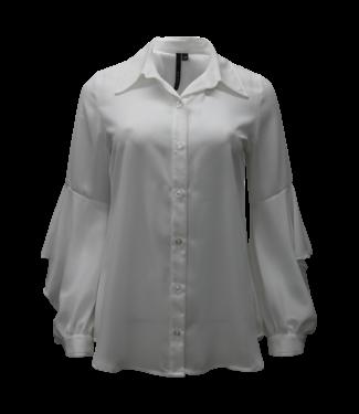kay celine White flutter sleeve blouse