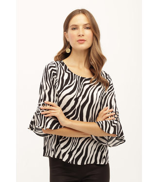 kay celine Zebra Print Bell Sleeve With Accent