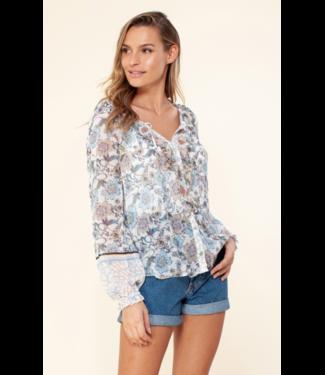 hale Bob Ivory printed ruffle blouse
