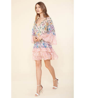 hale Bob Pink tiered ruffle dress