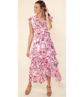 hale Bob Raspberry butterfly print wrap dress