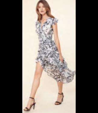 hale Bob Black butterfly wrap dress
