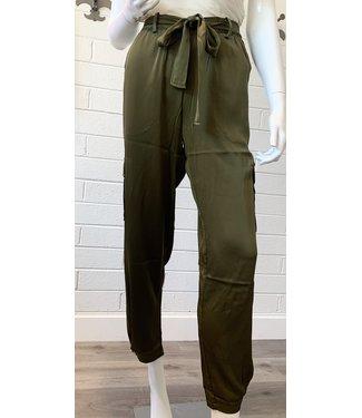 Olive washable silk cargo panto