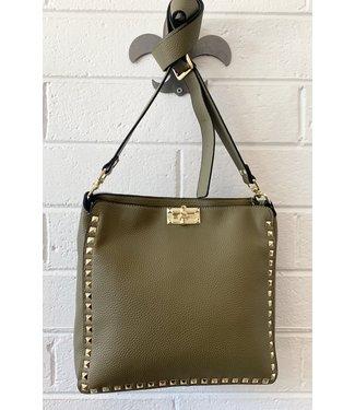 Vegan olive studded crossbody handbag