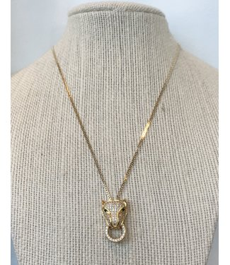 Pave' stoned cat necklace