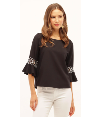 kay celine Black blouse with white accent sleeve