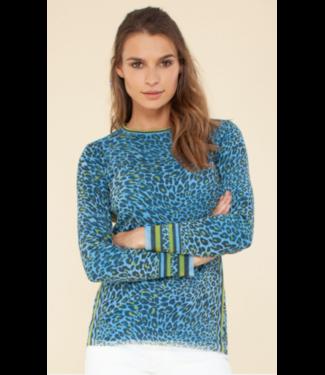 hale Bob Mesh Blue Cheetah Long Sleeve Top
