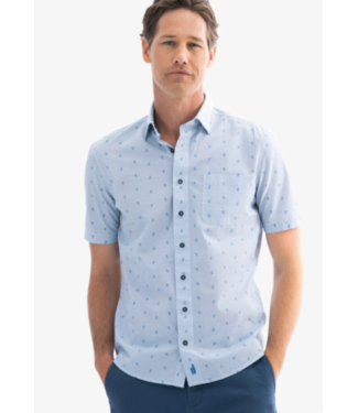 Johnnie-0 French blue short sleeve printed button down