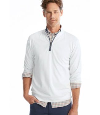 Johnnie-0 White 1/4 zip pullover