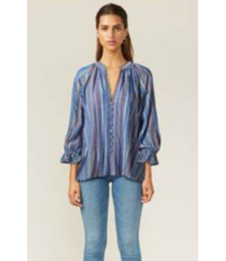 Adelyn Rae Blue Vertical Striped Blouse