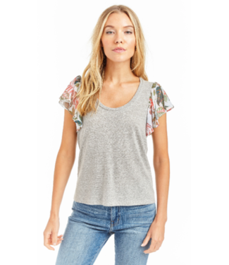 Drew Grey scoop neck with floral flutter sleeve T