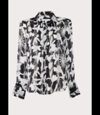 Milly Sheer black floral burnout top