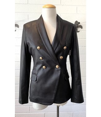 Oolala Black faux leather double breasted blazer