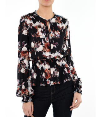 nicole miller Baroque smocked blouse