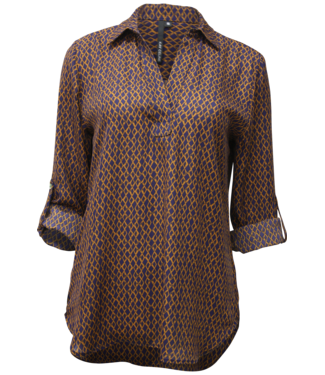 kay celine Navy & camel printed  collared blouse