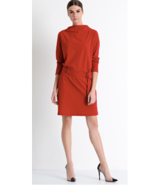 Shan Red Boat Neck Diana Dress