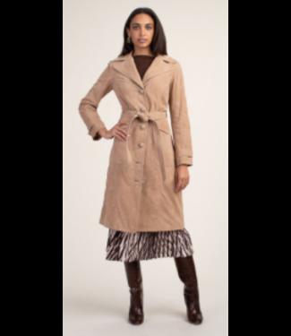 trina turk Camel Suede Belted Jacket