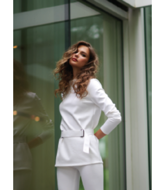 Shan White Belted Long Sleeve