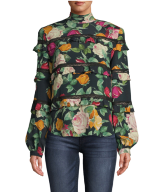 nicole miller Green Floral Blouse with Lace Inset