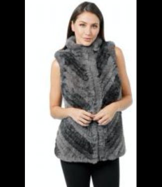 Love Token Grey faux fur zip vest