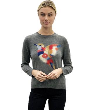 Saccharine Grey cashmere crew hummingbird sweater