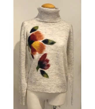 Saccharine Oatmeal floral  turtleneck sweater