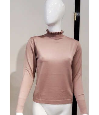 Maison Montagut Blush ruffle neck sweater